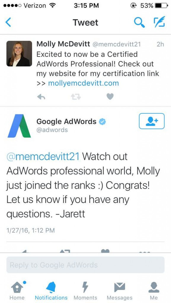 AdWords Tweet to Molly McDevitt