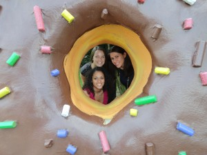 Lindsay, Larissa, and Molly inside of an oversized donut.  We also saw an oversized cupcake, honeycomb, eclair, ice cream sundae, and the Android Robot (including one shaped from an ice cream sandwich).