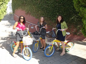 Googlebikes are shared and scattered all around the Googleplex. Googlers use them for short trips around the complex in order to reduce the need for car trips during the day.