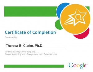 Theresa B. Clarke's Google Power Searching Certificate