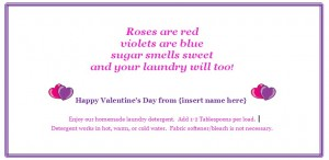 Valentine's Day Gift Tag for Laundry