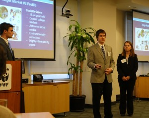"Lauren Crain, Dan Frohelich, and Patrick Shamburger presenting their ""Earth Hour"" Campaign at the World Wildlife Fund Headquarters."