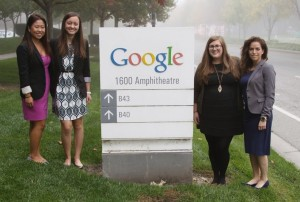 Ashleigh Rojanavongse, Rachel Lam, Kaci Lassiter, and Lauren Hale visiting Google Headquarters as part of their prize package for being named an AdWords Business Global Winner of the 2014 Google Online Marketing Challenge.